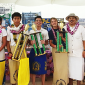 From Left to right: Yasmina Sanchez (1st overall), Samoana High School, Victor Chen (1st Overall), Pacific Horizons, Vincent M. Jagon (2nd Overall) from Faasao Marist High School and Jade Cox, (3rd Overall) Pacific Horizons School.