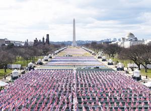 Flags are placed on the National Mall