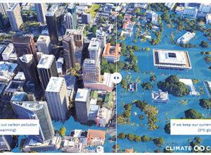 Graphic show possible extent of flooding as climate change advances