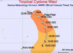 Track of TS Wasi