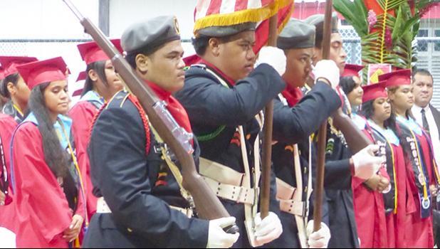 JROTC presents the colors at Faga'itua High School graduation