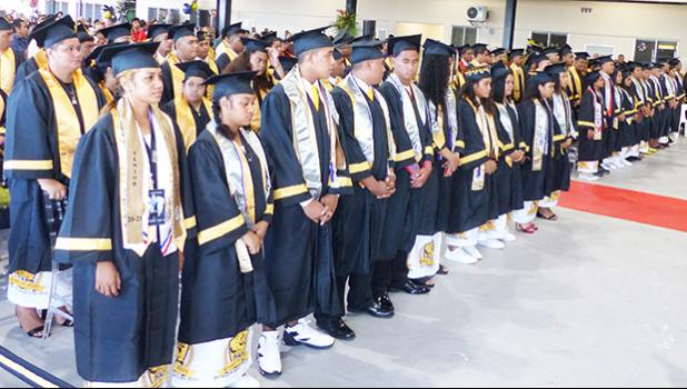 Some of the 79 graduates of the Nu'uuli Vocational Technical High School