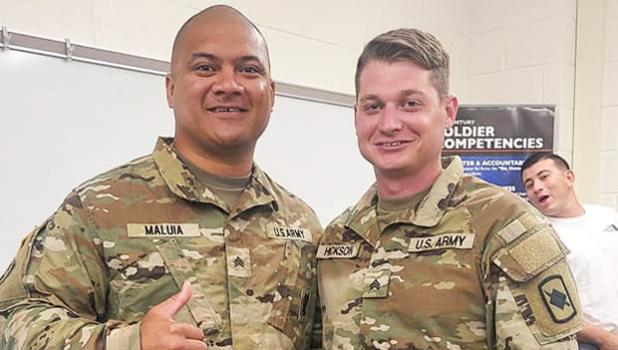 Sgt. Malu'ia with another soldier