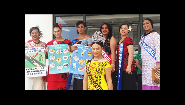 """This year, the Ministry of Health is bringing the event to the stage for the title Miss Health Faafafine 2016 with the theme """"Eat The Colors Of The Rainbow"""" to promote healthy eating of a variety of colored fruits and vegetables on the island.  This year's pageant's contestants are pictured with the reigning Miss Samoa Faafafine 2015, Steva Auina (front in yellow with tiara)  Miss Steva Auina is from Auckland, NZ, and has done a phenomenal amount of charity work, according to the SFA. She has been to Samoa"""