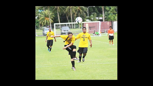 Gabriel Taumua of Pago Youth taking a shot at goal against Royal Puma in a men's game on Match Day 5 of the 2016 FFAS National League on Saturday, Sept. 17, 2016 at Pago Park Soccer Stadium. 