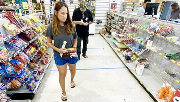 City Mill Hardware in Hawaii Kai, Hawai'i now features tape lines, 6 ft apart