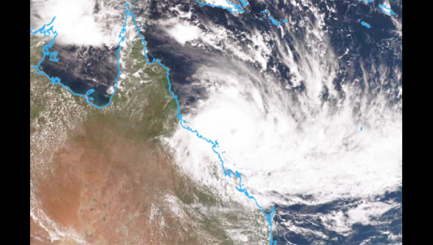 Photo: Cyclone Debbie is expected to impact areas from Cardwell to St Lawrence. (Bureau of Meteorology)