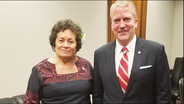 Amata with her colleague Sen. Dan Sullivan, who is on the Senate Veterans Affairs Committee. [courtesy photo]