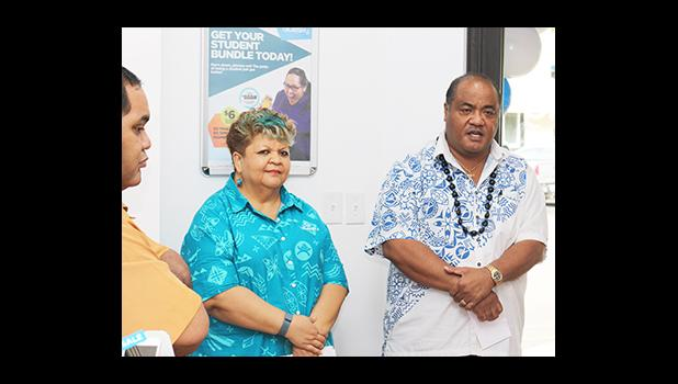 Bluesky Communications officials, Senior Consultant Pulelei'ite Li'amatu Tufele Jr. and Customer Service Manager Sherry Sele, offered their acknowledgements and thanks to all those who were able to attend the dedication ceremony for the newly renovated store inside the Laufou Shopping Center, yesterday morning. [photo: TG]
