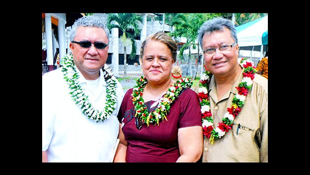 The Board of Higher Education has announced its selection of Dr. Rosevonne Makaiwi Pato (center) as the new President of ASCC. Dr. Pato is seen here with her colleague Dr. Mikaele Etuatle (right), ASCC Vice President of Administration and Finance, and Monsignor Viane Etuale of the Board of Higher Education.  [Courtesy photo]