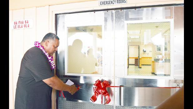 In this Samoa News file photo, Lt. Gov. Lemanu cuts the ribbon for the newly renovated ER unit at LBJ hospital in Sept. 2016.