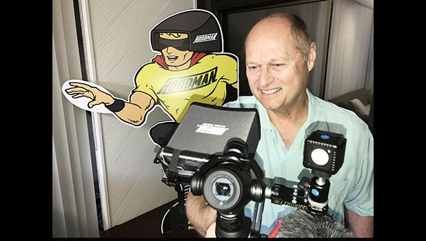 """Lou Schmidt co-owner of Hoodman enjoys the magic of an Osmo + Gimble, his company's Hoodman Hood and the fabulous """"Lume Cube""""  [Photo by Barry Markowitz]"""