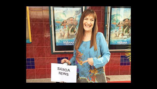 """Disney Producer Osnat Shurer outside of Apollo Cinemas in Apia Samoa, for the private screening of Disney's animated film, """"Moana"""". Shurer was with Pixar at one time and was also the producer for """"The Incredibles"""" and then moved to Disney where she assisted with the creating of """"Frozen"""", but her first film — where she was into the development — was """"Zootopia"""".  [Photo: JL]"""