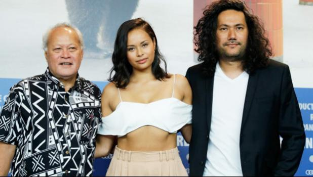 """Writer and Director of the new Samoan film """"One Thousand Ropes"""" Tusi Tamasese (far right) with actress Frankie Adams who plays the daughter Ilisa, and actor Uelese Petaia who plays the father Maea. The film will have its premiere March 16 in Apia, Samoa and then will continue to play March 23 onwards.  [With permission: One Thousand Ropes Facebook Page]"""