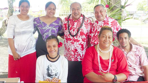 Red Cross-American Samoa chairman Vaitoa Hans Langkilde (second from left standing) with Red Cross volunteers at yesterday's dedication and opening of the new Red Cross building in Tafuna. [photo: Leua Aiono Frost]