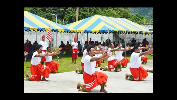 A look at inmates at the Territorial Correctional Facility performing a Samoan siva as part of the entertainment during yesterday's annual Christmas visit to the TCF compound by Gov. Lolo Matalasi Moliga, First Lady Cynthia Malala Moliga, Lt. Gov. Lemanu Peleti Mauga and cabinet members.  [photo: AF]