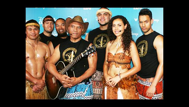 Te Vaka band which worked on the soundtrack for the Disney film Moana with Opetaia Foa'i holding the guitar. [Photo: Supplied / Te Vaka]
