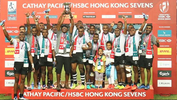 Fiji won the Hong Kong Rugby Sevens for a record-extending 17th time on Sunday, beating South Africa 22-0 in a lopsided final to win their first tournament since the Rio Olympics, during day 3 at the Cathay Pacific/HSBC Hong Kong Sevens on April 9, 2017. [photo: Joe Hamby]