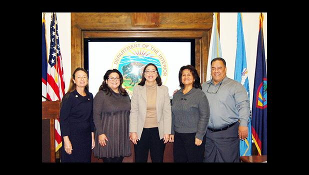 (Pictured left to right) Colette Monroe, Policy Advisor, Office of the Governor, U.S. Virgin Islands; Tricee Limtiaco, Special Assistant to the Governor of Guam; Assistant Secretary for Insular Areas Esther Kia'aina, Dr. Ruth Matagi-Tofiga, Director, American Samoa Department of Marine and Wildlife Resources; Richard Seman, Secretary, CNMI Department of Lands and Natural Resources.  [photo: USDOI-OIA]