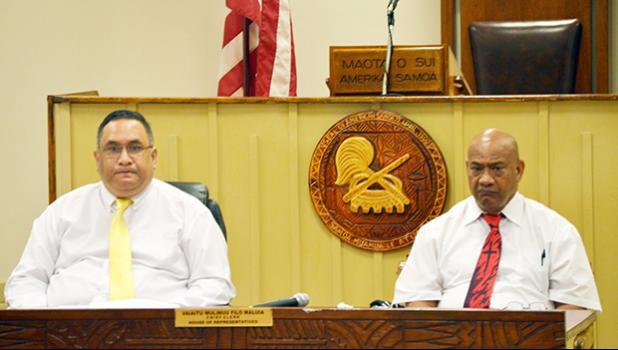Attorney General Faimealelei Alailima Utu and Acting Police Commissioner Fo'ifua Fo'ifua