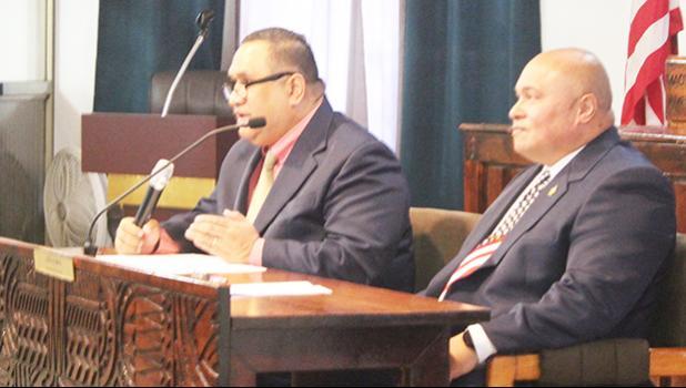 Attorney General Fainu'ulelei Falefatu Ala'ilima-Utu (left) and the Governor's Chief of Staff, Tuimavave Tauapa'i Laupola
