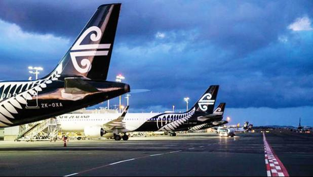 Air New Zealand planes parked up at Auckland Airport