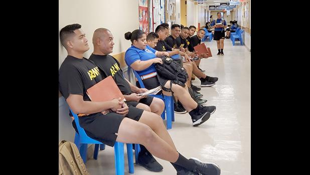 U.S. Army Reserve Soldiers under the 9th Mission Support Command waiting for physicals