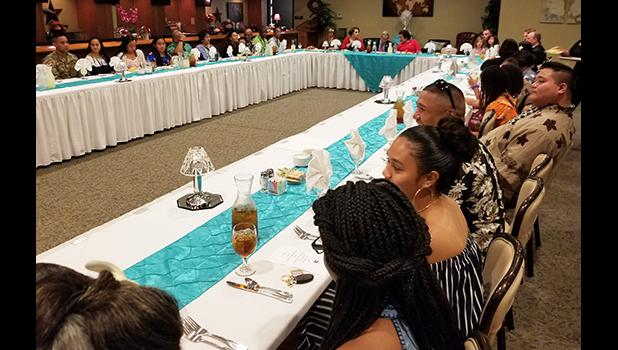 Chairman Joe Wilson and Congresswoman Amata dining with the Soldiers and families of the Samoan community at Fort Jackson, South Carolina. [courtesy photo]