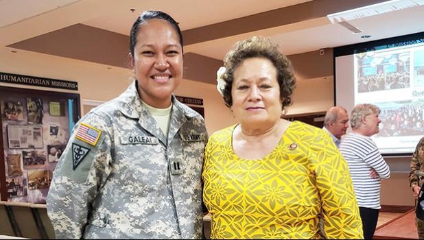 Amata with Captain Linda Galea'i at Fort Buchanan, Puerto Rico.