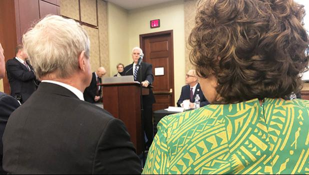 Amata and other Members, in this photo, are being briefed by Vice President Pence on national health efforts