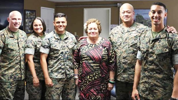 Amata with Camp Pendleton Samoan soldiers