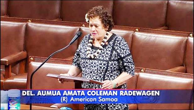 Congresswoman Amata speaking to the House