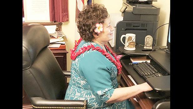 Congresswoman Uifa'atali Amata during virtual committee meeting where she testified