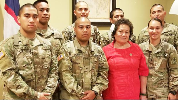 Amata with Soldiers who are currently serving the country at Fort Jackson. [courtesy photo]