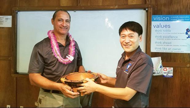 StarKist Samoa General Manager Jason Kim (right) with  Taotasi Archie Soliai,