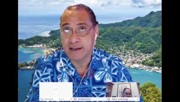 Wespac Chairman Archie Soliai participates in a video conference