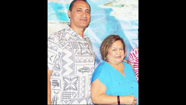 American Samoa Council member, Totasi Archie Soliai with Council executive director Kitty M. Simonds