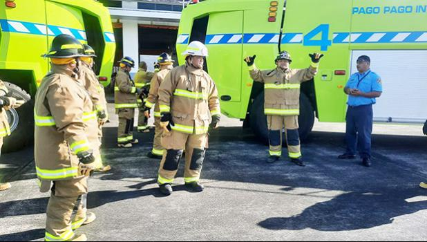 Firefighting crew in their new fire suits