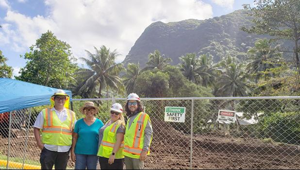 Mayor of Aua village Muaiavaona Fofoga Pila (second from left) with personnel from the US Army Corps of Engineers (USACE), Santiago Gallego (far left), Daisy Pate (third from left), and Mathew Segura (far right).