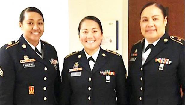 [l-r] Sgt Sailelagi Manu of Afonotele; Sgt Shanli Lin of Fagaitua; and Sgt Marcella Malufau of Futiga.