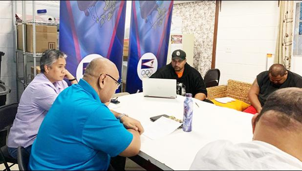 Fanene Milton Taufa'asau (in blue) presiding over the ASBA Annual General Meeting
