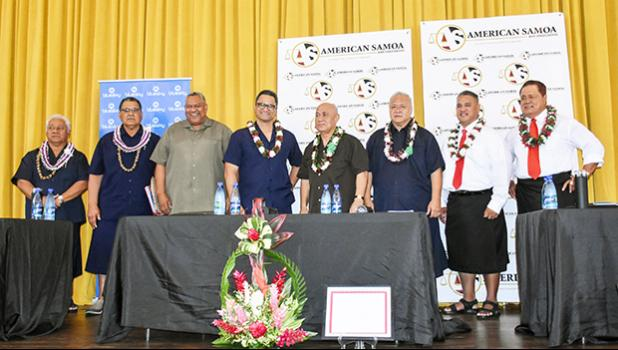 The teams (l-r] on stage: Sen. Fai'ivae Iuli Godinet, candidate for lieutenant governor and running mate candidate for governor, Senate President Gaoteote Tofau Palaie; candidate for governor; Lt. Gov. Lemanu Peleti Mauga candidate for governor and Talauega Eleasalo Va'alele Ale for lieutenant governor; I'aulualo Fa'afetai Talia candidate for governor and Tapaau Dr. Dan Mageo Aga as lieutenant governor; and Tapumanaia Galu Satele Jr., for lieutenant governor and candidate for governor, Nuauaolefeagaiga Saol