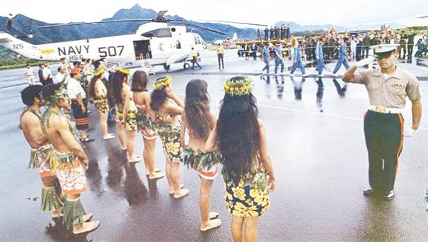 Astronauts welcomed to American Samoa by young cultural dancers