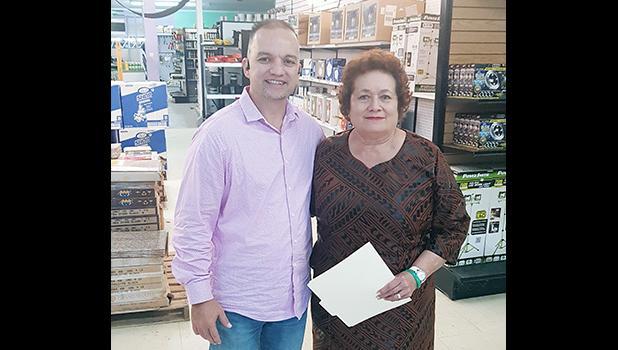 Congresswoman Aumua Amata with Joseph Toloa'i Ho Ching II.