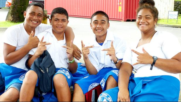 Samoana students posing for the camera