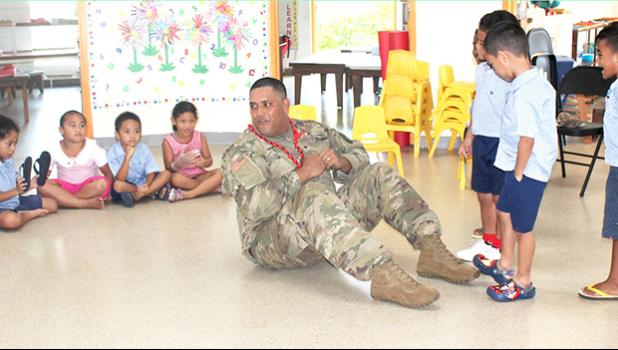 Army Reserve Spec. Robertson Ili at Fatuoaiga Montessori School