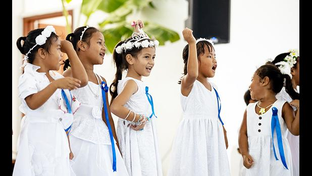 The young children performing bible skits