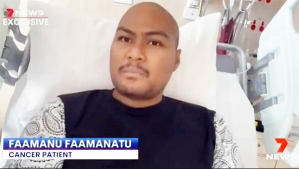Fa'amanu Fa'amanatu in a hospital bed