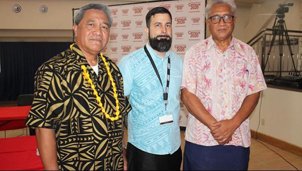 [-r] American Samoa Census Office Manager Meleisea Vai Filiga; US Census Bureau's 2020 Census Advisor to American Samoa, Jason Kopp; and Commerce director Fuiavailiili Keniseli Lafaele