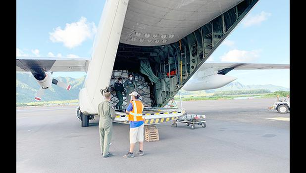 USCG airplane with PPE supplies for American Samoa